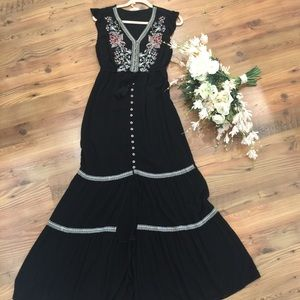 Black Embroidered Button Dress